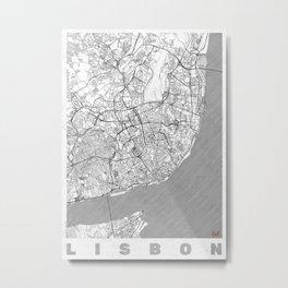 Lisbon Map Line Metal Print