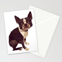 Low Polygon Boston Terrier Stationery Cards