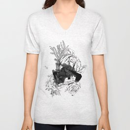 ink flower Unisex V-Neck