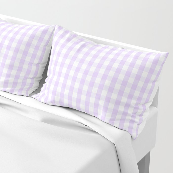 Chalky Pale Lilac Pastel and White Gingham Check Plaid Pillow Sham