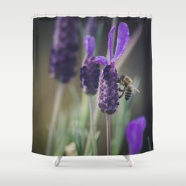 Lavender Blooms, Bee Photography, Nature Photography, Flower Photography, Floral Print, Nature Print Shower Curtain