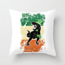 Distressed Irish Flag St Patrick Dinosaur Throw Pillow