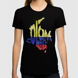 Colombia Typographic World Map / Colombia Typography Flag Map Art T-shirt