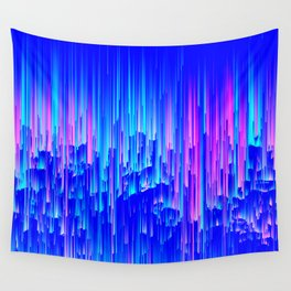 Neon Rain - A Digital Abstract Wall Tapestry
