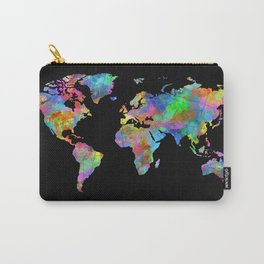 world map watercolor black 2 Carry-All Pouch