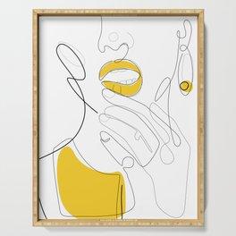 Bold Mustard Lip Serving Tray