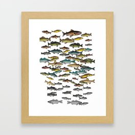 Fish Beach Nautical multicolor and black and white Framed Art Print