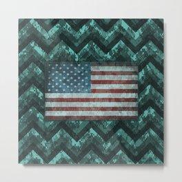 Turquoise Blue Digital Camo Chevrons with American Flag Metal Print
