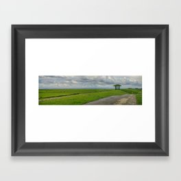 Panorama, Dike and Temple Marrum (Friesland, The Netherlands) Framed Art Print
