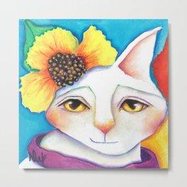 Miss Flower White Cat Floral Portrait Metal Print