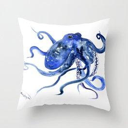 Octopus Design Blue Navy Blue Beach, cute ocotpus texture art Throw Pillow