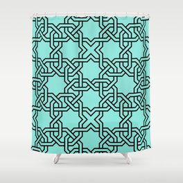 Entwined graphic Lines Home Design - turquoise Shower Curtain