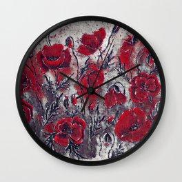 Dark poppies  Wall Clock