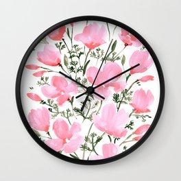 Pink watercolor California poppies Wall Clock
