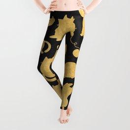 Gold on Black Kitty Pattern Leggings