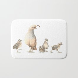 Quail Family with Mom and Babies Bath Mat