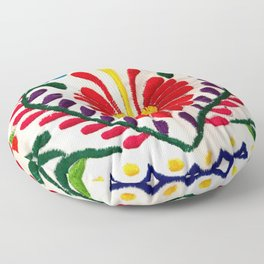 Red Mexican Flower Floor Pillow