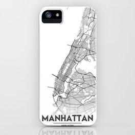 Minimal City Maps - Map Of Manhattan, New York, United States iPhone Case
