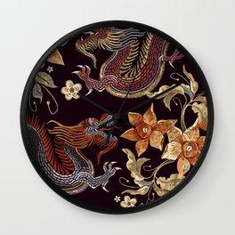 Japanese Dragon Illustration Wall Clock