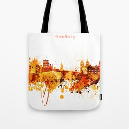 Heidelberg Germany Red Yellow Skyline Tote Bag
