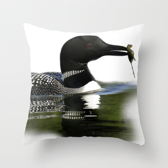 Northern Loon with Crayfish, Illustration Throw Pillow