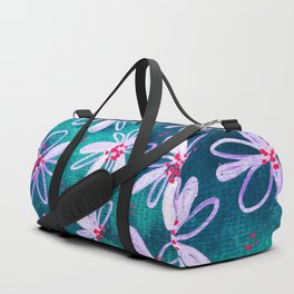 Daisy Flowers | Whimsical Watercolor Daisies on Cyan BlueTeal Duffle Bag
