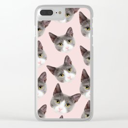 girly cute pink pattern snowshoe cat Clear iPhone Case