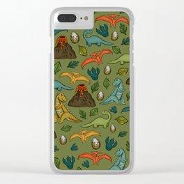 Dinosaur Print, Dino, Jurassic, Jurassic Art, Volcanos, T-Rex, Green Clear iPhone Case