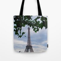 eiffel Tote Bags featuring Eiffel by M. Gold Photography