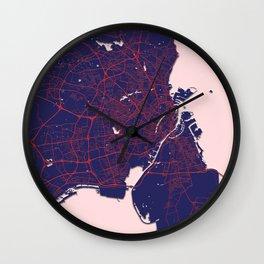 Copenhagen, Denmark, Blue, White, City, Map Wall Clock