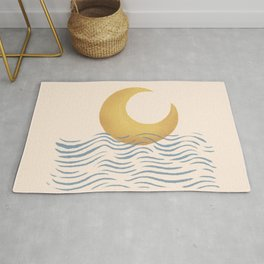 Good Night Moonset Moonrise Ocean Rug