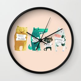 Animal idioms - its a free world Wall Clock