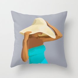 At the Beach: Aqua suit Throw Pillow
