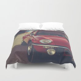 Triumph spitfire, english car by the beach in italy, old car and a boat, for man cave decor Duvet Cover