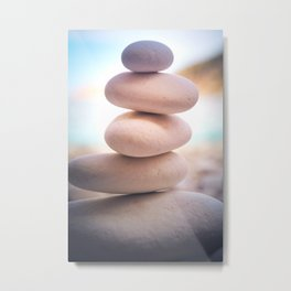 Zen beach rocks print, balancing pebbles, Yoga room art, Beach decor, wall art Metal Print
