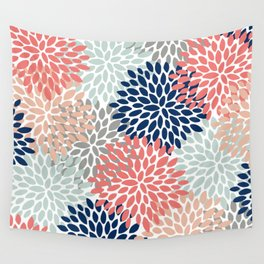 Floral Bloom Print, Living Coral, Pale Aqua Blue, Gray, Navy Wall Tapestry