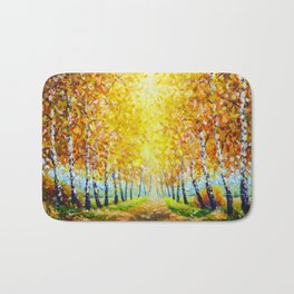 Autumn theme Painting oil - alley of autumn trees  - modern art impressionism abstract landscape art Bath Mat