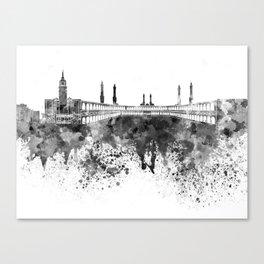 Mecca skyline in black watercolor Canvas Print