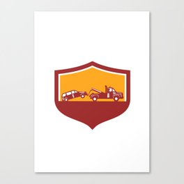 Tow Truck Towing Car Shield Retro Canvas Print