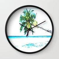 cuba Wall Clocks featuring Cuba , Playa  ( Cuba , beach ) by arnedayan