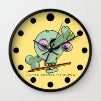 teacher Wall Clocks featuring Bad Teacher by mailboxdisco