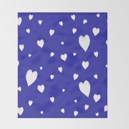 Hand-Drawn Hearts (White & Navy Blue Pattern) Throw Blanket