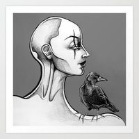 crow Art Prints featuring Crow by Sam Pea