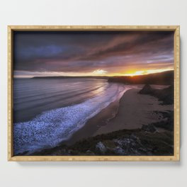 Gower sunset at Three Cliffs Bay Serving Tray