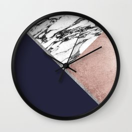 Marble Rose Gold Navy Blue Triangle Geometric Wall Clock