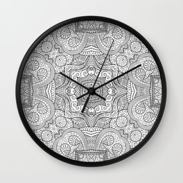 Abstract ethnic hand drawn line art seamless pattern Wall Clock