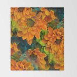 Orange Floral Bouquet Throw Blanket