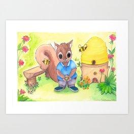 Bee Kind Squirrel Art Print