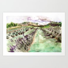 Purple up over the hills Art Print