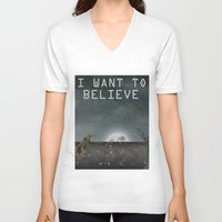 i want to believe V-neck T-shirts featuring I Want To Believe by Conceptualized